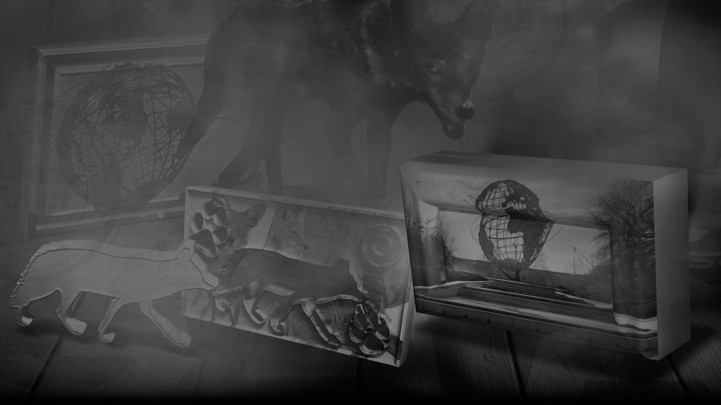 Cinematic scene using coyote iconography