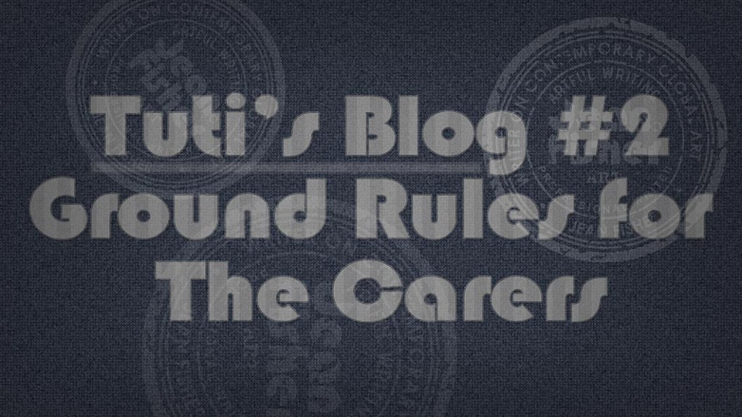 Ground rules for the carers text on a fabric background