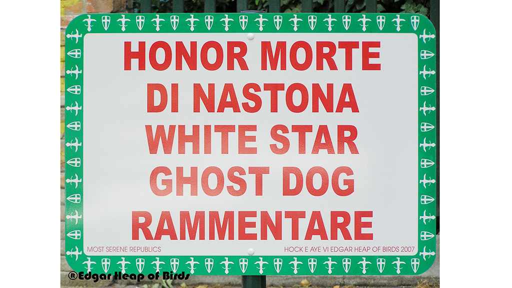 Most serene republics: One of a set of signs from the Viale Garibaldi installation, Venice 2007